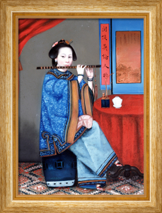 Portrait Of A Court Lady, Seated Small Full Length In A Blue Robe, Playing The Flute by Adriaen Thomasz