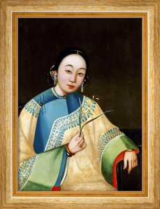 Portrait Of A Court Lady, Seated Half Length In An Embroidered Robe by Adriaen Thomasz