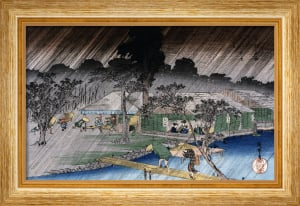 Twilight Shower At Tadasu Bank by Ando Hiroshige