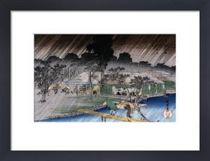 Twilight Shower At Tadasu Bank by Ando Hiroshige