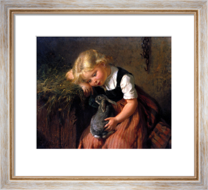 Girl with Pet Rabbit by Felix Schlesinger