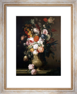 Roses, Tulips, Carnations And Other Flowers, In An Urn On A Ledge by Jean Louis Prévost