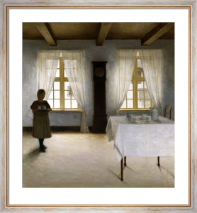An Interior with a Young Girl Serving Tea by Peter Vilhelm Ilsted