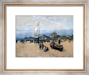 Figures On The Beach, At Deauville Or Trouville by Luigi Aloys-François-Joseph Loir