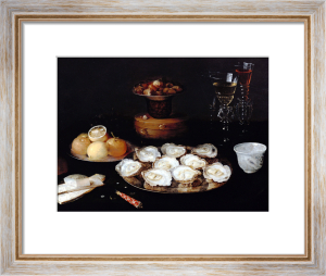 Oysters And Fruit On Pewter Plates, A Dish Of Chestnuts by Beert Osias the Elder