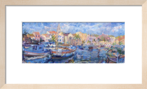 Sanary-sur-Mer Harbour with Church by Anne Rea