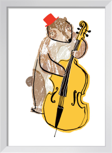 Bear on Double Bass by Louise Cunningham