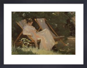 The Artist's Wife Sitting in a Garden Chair at Skagen by Peder Severin Kröyer
