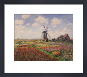 Tulip Fields with the Rijnsburg Windmill, 1886 by Claude Monet