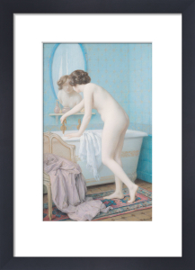 Young Woman Preparing her Bath by Jules Scalbert