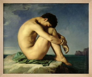 Naked Young Man Sitting by the Sea, 1836 by Jean-Hippolyte Flandrin
