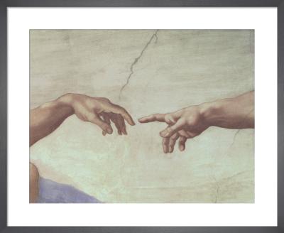 Creation of Adam (detail - hands) by Michelangelo