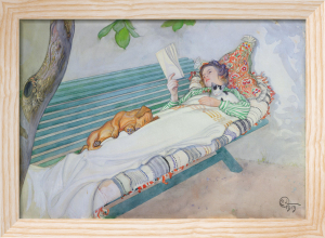 Woman Lying on a Bench, 1913 by Carl Larsson