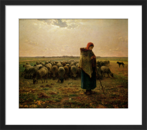 Shepherdess with her Flock, 1863 by Jean Francois Millet