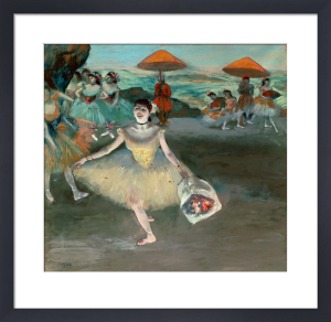 Dancer on Stage with Bouquet by Edgar Degas