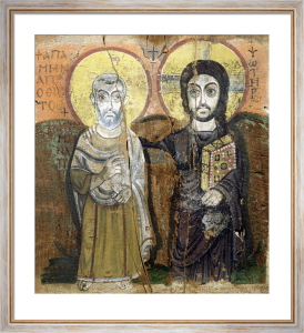Icon depicting Abbott Mena with Christ from Baouit by Coptic