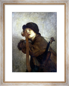 The Little Violinist Sleeping, 1883 by Antoine Auguste Ernest Herbert