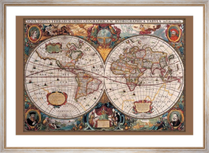 17th Century World Map (Gold ink) by Anonymous