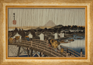Edo, Tokyo, under the rain, people with umbrellas by Ando Hiroshige
