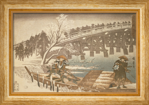 Men crossing Bridge in the snow by Ando Hiroshige