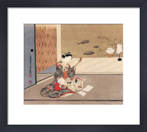 Woman playing samisen by Tamagawa Shunsui
