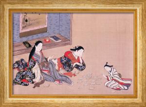 Women playing cards by Tamagawa Shunsui