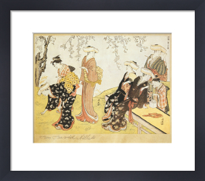 Women in kimonos picking flowers in a garden by Torii Kiyonaga