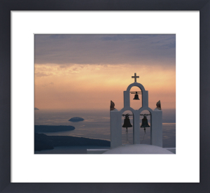 Belltower at sunrise, Santorini, Greece by Danita Delimont