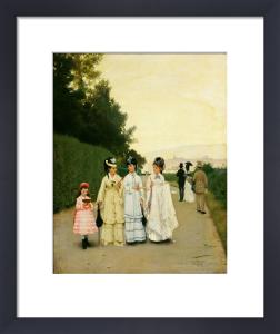 Walk on the Fiesole road, 1878 by Raffaello Sorbi