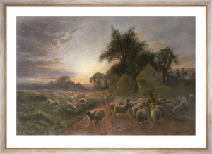 Sheep Feeding (Restrike Etching) by Joseph Farquharson