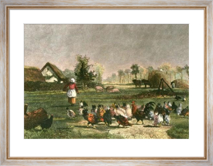 Farmyard With Chickens (Restrike Etching) by Constant Troyon