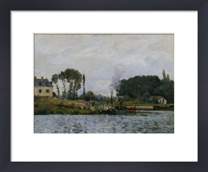 Boats at the floodgate of Bougival by Alfred Sisley