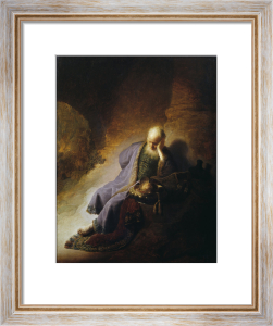Jeremiah mourning the destruction of Jerusalem by Rembrandt