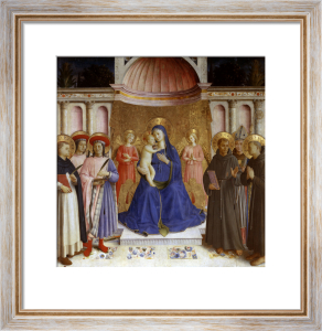 Madonna enthroned with six saints and angels by Attributed to Fra Angelico