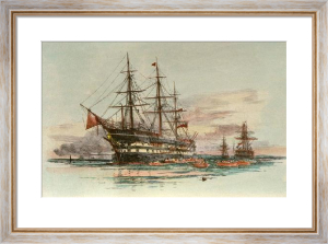 Exmouth (Training Ship) (Restrike Etching) by William Lionel Wyllie