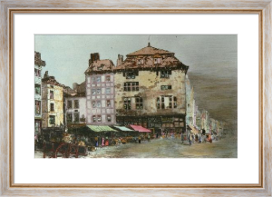French Market Square (With cart) (Restrike Etching) by Anonymous