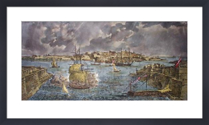 Valetta Harbour (Restrike Etching) by Willaim Henry Gore