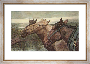 Old Comrades in Harness (Restrike Etching) by Lucy Kemp-Welch