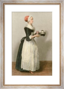 Girl With Chocolate Drinks (Restrike Etching) by Jean-Etienne Liotard