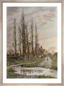 Where the Poplars Kiss the Sky (Restrike Etching) by Frederick Albert Slocombe