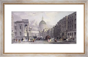 Post Office & St Paul's (Restrike Etching) by Thomas Allom