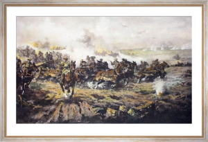 Artillery Advancing At Harbonnier (Restrike Etching) by Power