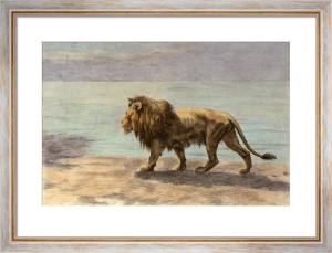 Lion on the Prowl (Restrike Etching) by Herbert Thomas Dicksee