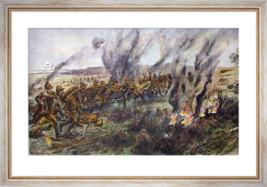Berkshire Yeomanry: Chocolate Hill (Restrike Etching) by Richard C. Woodville
