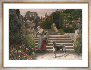 The Old Garden (Restrike Etching) by Herbert Thomas Dicksee