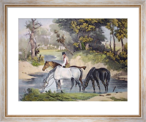 Horses Watering (Restrike Etching) by Samuel J. E. Jones