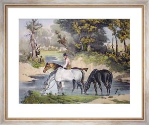 Horses Watering (Restrike Etching) by Samuel J. E. Jones