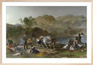 Crossing a Highland Loch (Restrike Etching) by Jacob Thompson
