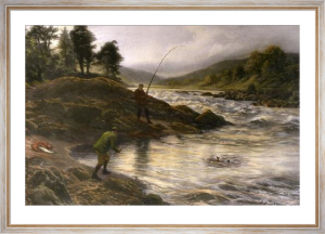 Salmon Fishing on the Dee (Restrike Etching) by Joseph Farquharson