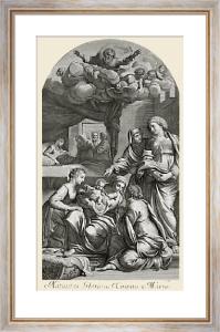 Natiuitas Gloriosa Virgins (Restrike Etching) by Anibal Caracci Inuen